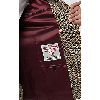 Scottish Harris Tweed Mens Brown Suit Jacket Regular Fit 100% Wool Windowpane Check