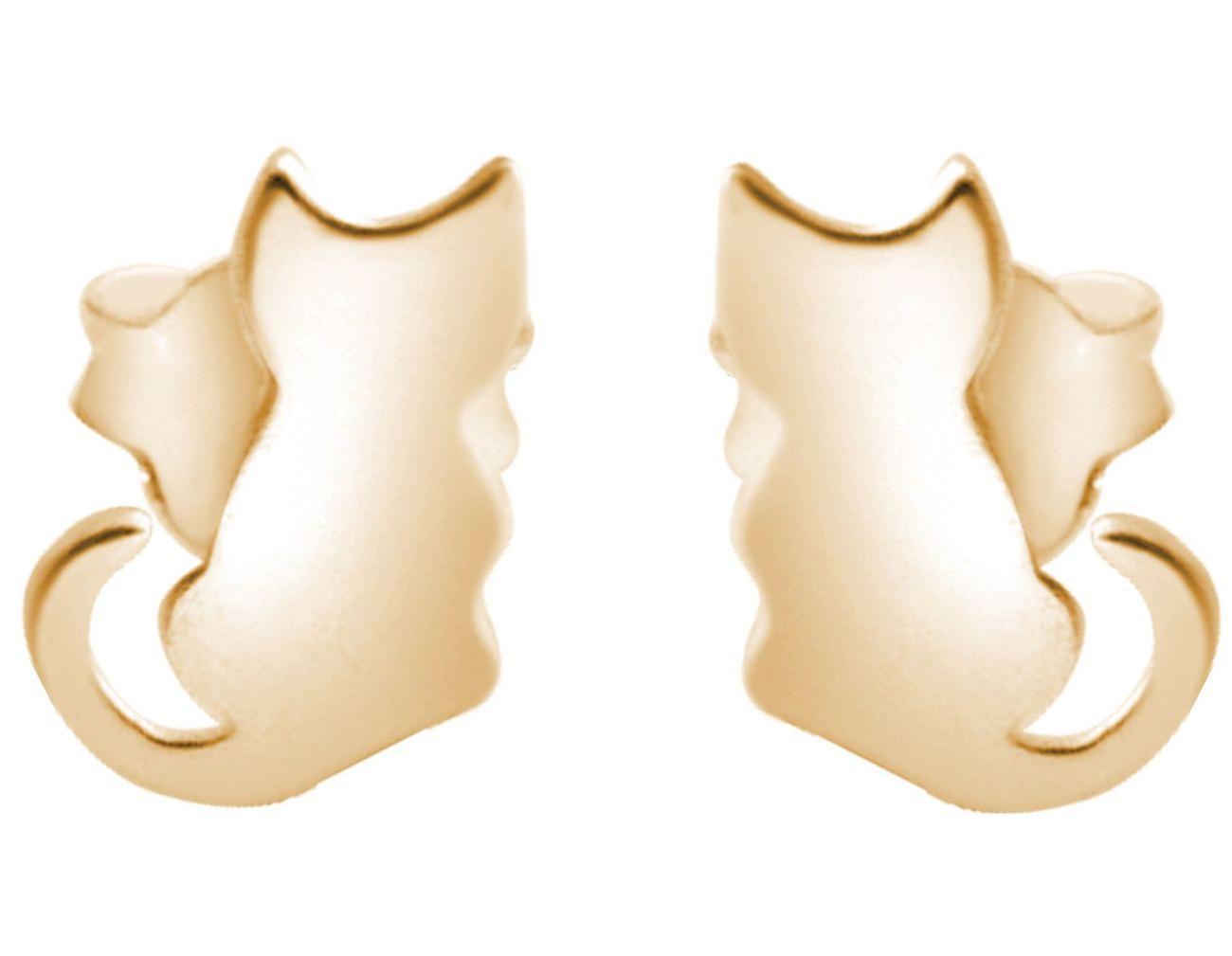 GEMSHINE Ohrstecker Katze oder Kätzchen 925 Silber, vergoldet oder rose