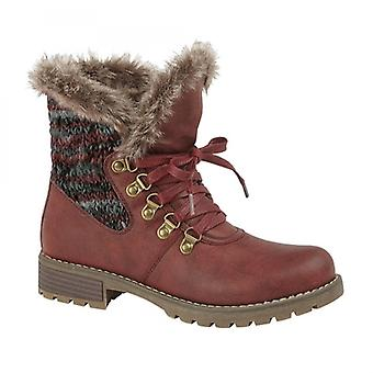 Cipriata Francia Ladies Knitted Faux Fur Heeled Ankle Boots Maroon