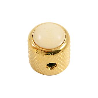 Q Parts Mini - Dome Knob - Cream Cap / Gold Base