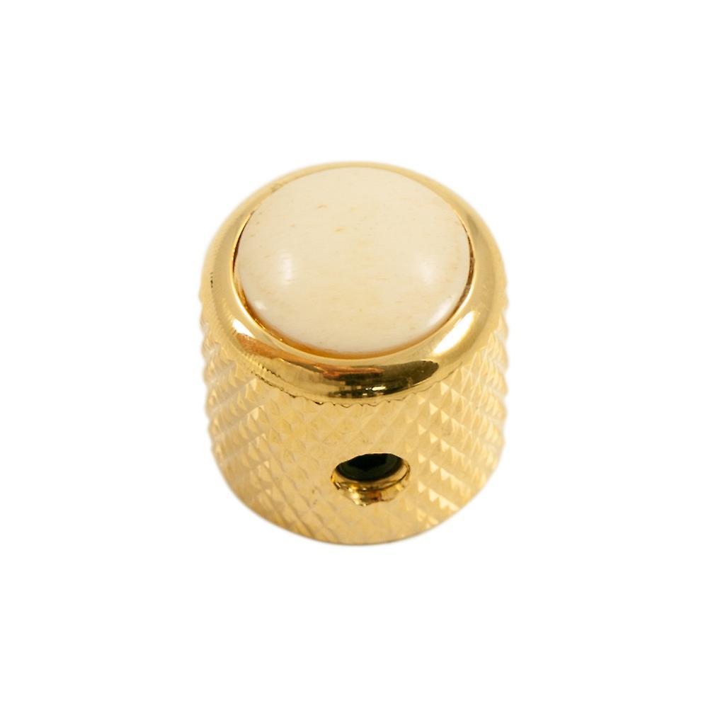 Q Parts Mini - Dome Knob - Cream Cap / Gold Base