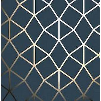 Fine Decor Platinum Geo Trellis Navy / Gold Wallpaper Fine Decor Platinum Geo Trellis Navy / Gold Wallpaper