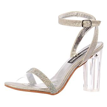 Onlineshoe Diamante Strappy Perspex Mid Heel Party Sandal