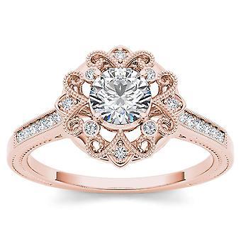 Igi-certifierad 14k roséguld 0,50 ct diamantblomma halo förlovningsring