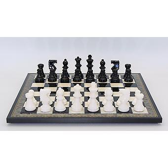 Black & White Alabaster Chess Set Wood Frame