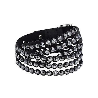 Swarovski arm band 5512512-ikoniska Slake kristaller svart tyg Alcantara kvinnor