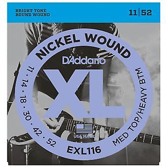D'Addario Nickel Electric Guitar Strings Med Top/Heavy Bottom