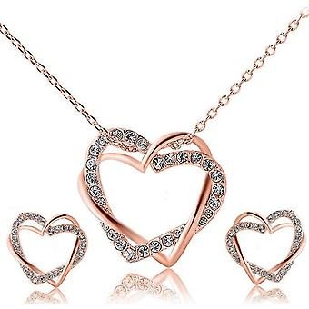 14k rose-gold plated twin heart set - rose-gold