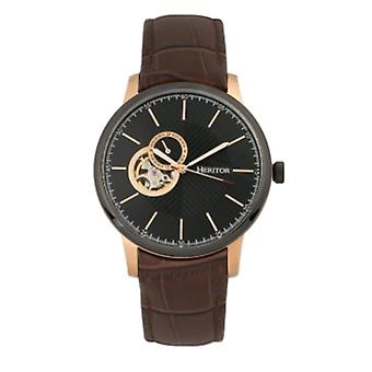 Heritor Automatic Landon Semi-Skeleton Leather-Band Watch - Rose Gold/Brown