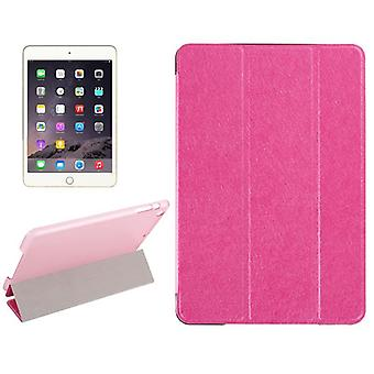 For iPad Mini 4 Case,Modern Silk Textured 3-fold Leather Folio Cover,Magenta