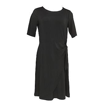 H par Halston Dress Regular Jet Set w/ Faux Sarong Tie Black A305356
