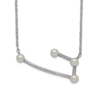 925 Sterling Silver Rhod plat 4 3 4mm Freshwater Cultured Pearl Aries With 1inch Ext. Necklace 17 Inch Jewelry Gifts for