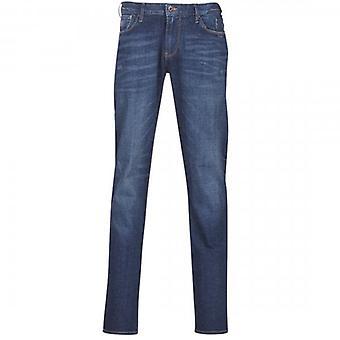 Emporio Armani J06 Slim Fit Tinted Blue Washed Denim Jeans 6G1J06 1D7VZ