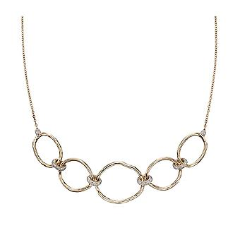 Joshua James Precious 9ct Yellow Gold & Diamond Hammered Chain Link Necklace