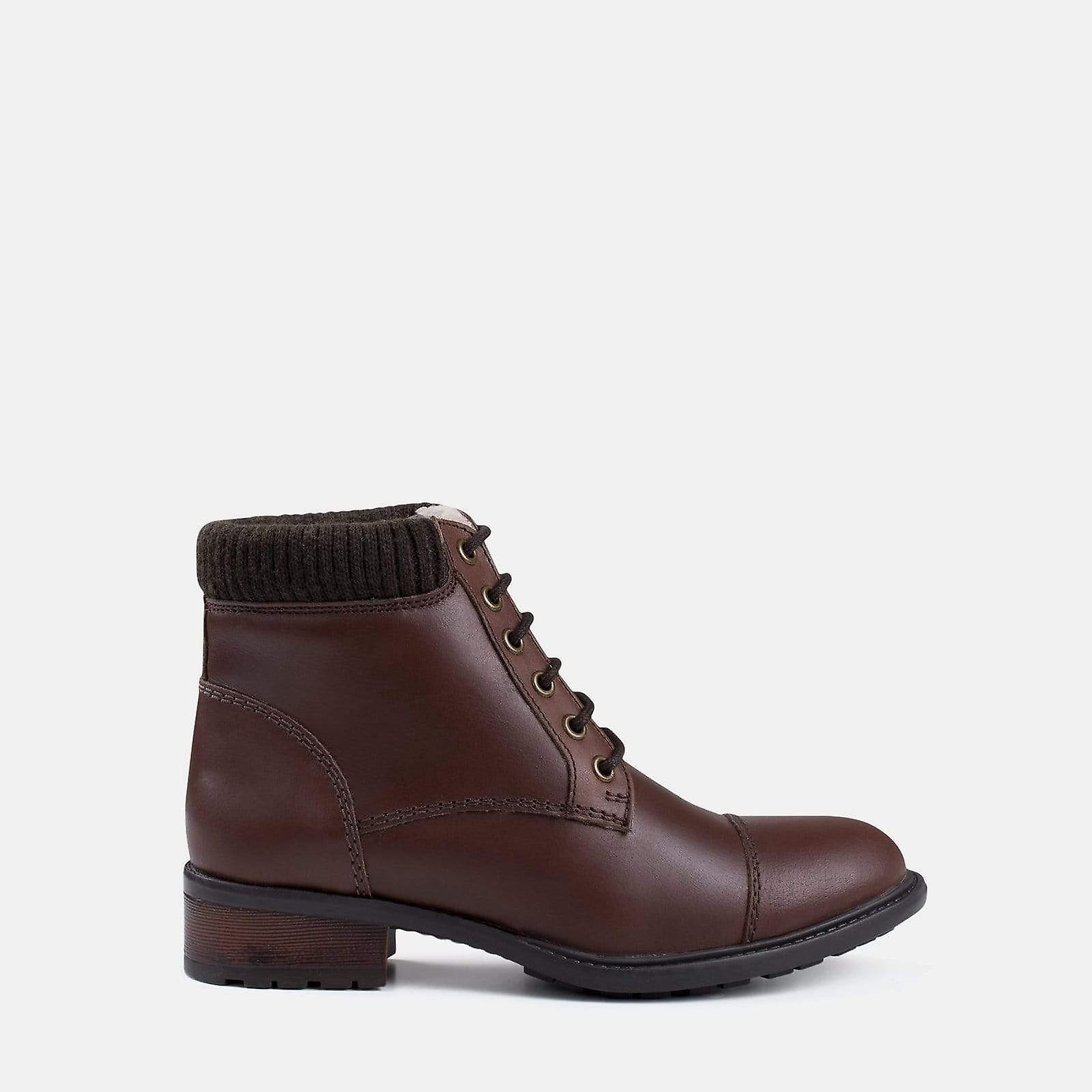 Mika brown leather military boot UifNU