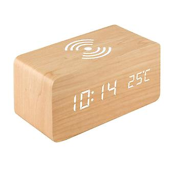 Digital Alarm Clock, Rectangular - Beige