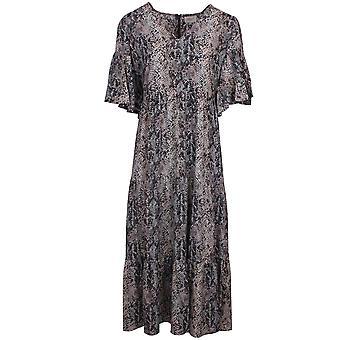 Primrose Park Alice Snake Skin Print Silk Blend Bell Sleeve Midi Dress
