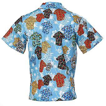 Funny Guy Mugs Men's Shirts On Shirt Hawaiian Print, Shirts on Shirt, Size Small