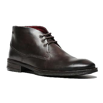 Base London Brown Leather Bramley Burnished Conce Up Botines