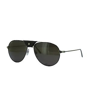 Cartier Santos de Cartier CT0038S 001 Schwarz/Grau Sonnenbrille