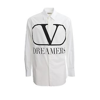 Valentino Tv0aba9569ua01 Herren's weißes Baumwollhemd