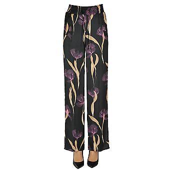 One Ezgl335022 Women's Black Viscose Pants