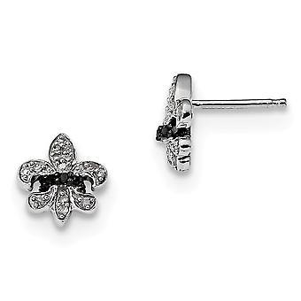 925 Sterling Silver Polished Prong set Black and White Diamond Fleur De Lis Post Earrings Jewelry Gifts for Women