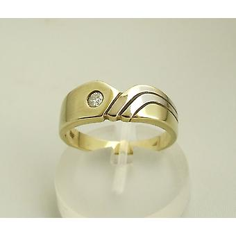 Bicolor gold ring with brilliant 0.10 ct.