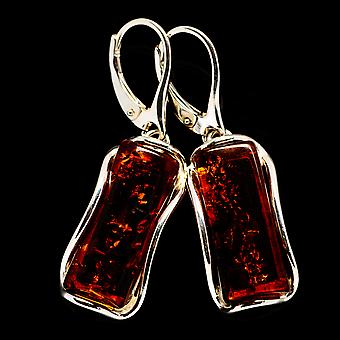 """Baltic Amber Kolczyki 1 5/8"""" (925 Srebro) - Ręcznie boho vintage biżuteria EARR400386"""