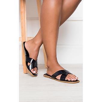 IKRUSH Damen Melanie schillernden Crossover Slip auf Sandalen