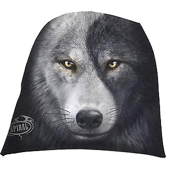 Spiral Direct Gothic WOLF CHI - Light Cotton Beanies Black|Wolf|Yin Yang|Native American|Mystical