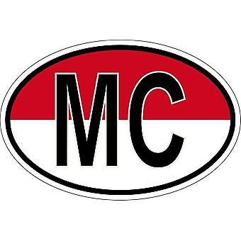 Sticker sticker oval oval flag country code MC monaco