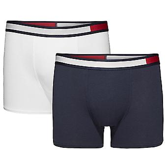 Tommy Hilfiger Boys 2 Pack Colour Block Boxer Trunk, White / Navy Blazer, Age 14-16