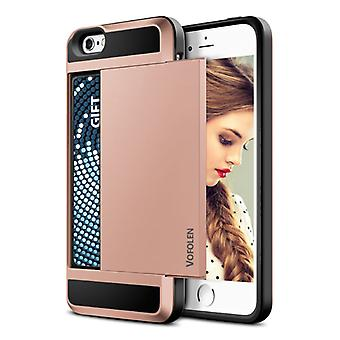 VOFOLEN iPhone SE (2020) - Wallet Card Slot Cover Case Case Business Pink