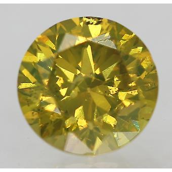 Cert 0.53 Ct Green Yellow SI1 Round Brilliant Enhanced Natural Diamond 5.06m 3VG