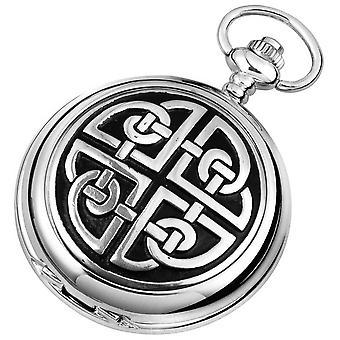 Woodford Celtic Knot Chrome Plated Double Full Hunter Skeleton Pocket Watch - Silver/Black