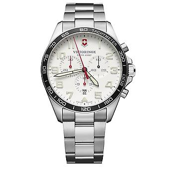 Victorinox Swiss Army Fieldforce Chronograph White Dial Stainless Steel Bracelet Hommes 241856 RRP