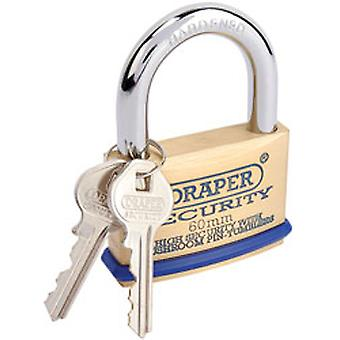 Draper 64163 60mm Solid Brass Padlock & 2 Keys - Hardened Steel Shackle & Bumper