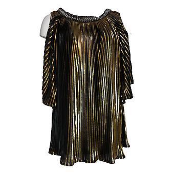 Masseys Women's Top Metallic Pleated Blouse Gold / Zwart