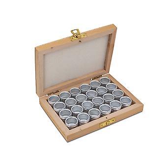 Set di stoccaggio, 24 contenitori in alluminio in una scatola di legno