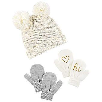 Simple Joys por Carter's Girls' Hat and Mitten Set, Ivory/Gold, 12-24 Meses