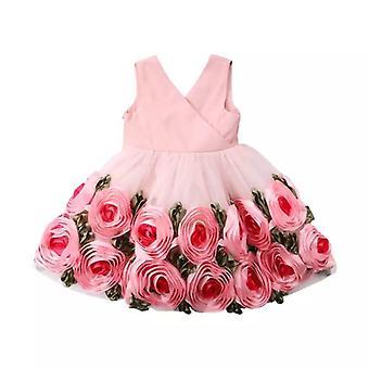 Baby Mädchen Blume V Hals Tüll Schleife Kleid