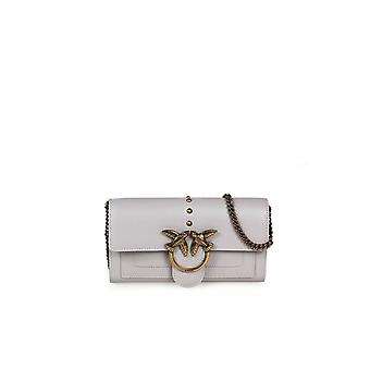 PINKO LOVE WALLET SIMPLY 2 C LIGHT GREY WALLET WITH CHAIN