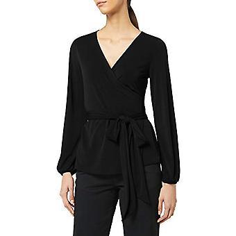 Meraki Women's Crepe Wrap Top, Black, EU XL (EUA 12-14)