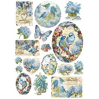 Reispapier A4 Blaue Vögel & Schmetterlinge (DFSA4077)