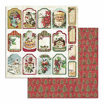 Stamperia Klassisk Christmas Tag 12x12 tommers papirark (10pcs) (SBB706)