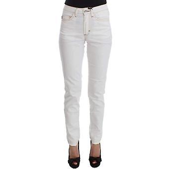 Witte Katoenmix slim fit jeans--SIG3868037