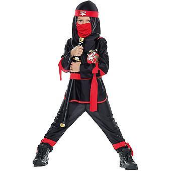 Schattenkrieger schwarz rot Gewand Ninja Kinder Krieger Ninjakostüm 5-teilig