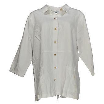 Joan Rivers Femmes's Top Denim 3/4 Manchon Back Button Détail Blanc A378282