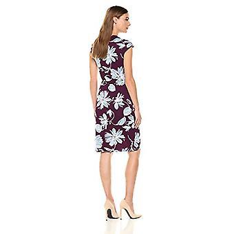 Brand - Lark & Ro Women's Classic Cap Sleeve Wrap Dress, Wine Floral, ...